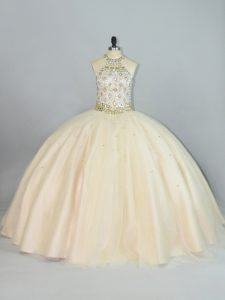 Adorable Champagne Halter Top Lace Up Beading Sweet 16 Quinceanera Dress Sleeveless