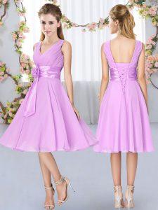 Fabulous Sleeveless Lace Up Knee Length Hand Made Flower Damas Dress