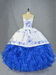 Gorgeous Sleeveless Organza Brush Train Lace Up Vestidos de Quinceanera in Blue And White with Beading and Embroidery and Ruffles