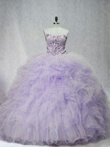 Tulle Sweetheart Sleeveless Brush Train Lace Up Ruffles Vestidos de Quinceanera in Lavender