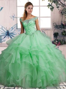 Perfect Sleeveless Organza Floor Length Lace Up Quinceanera Dress in Apple Green with Beading and Ruffles