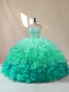 Sumptuous Floor Length Multi-color Sweet 16 Quinceanera Dress Organza Sleeveless Beading and Ruffles