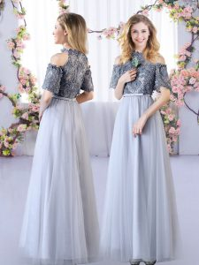 Sweet Floor Length Empire Short Sleeves Grey Quinceanera Dama Dress Zipper