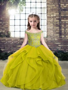Exceptional Olive Green High School Pageant Dress Party and Military Ball and Wedding Party with Beading Off The Shoulder Sleeveless Lace Up