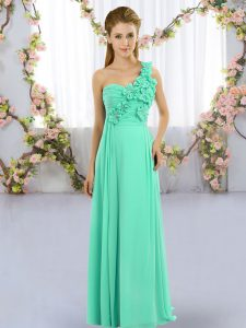 Empire Dama Dress Turquoise One Shoulder Chiffon Sleeveless Floor Length Lace Up
