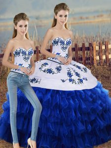 Royal Blue Lace Up Vestidos de Quinceanera Embroidery and Ruffled Layers and Bowknot Sleeveless Floor Length