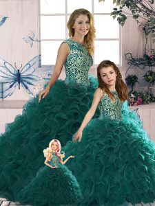 Peacock Green Scoop Lace Up Beading and Ruffles Quince Ball Gowns Sleeveless