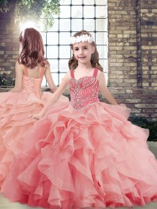 Tulle Straps Sleeveless Lace Up Beading and Ruffles Little Girls Pageant Dress Wholesale in Watermelon Red