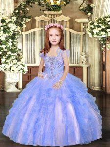 Beading and Ruffles Child Pageant Dress Blue And White Lace Up Sleeveless Floor Length