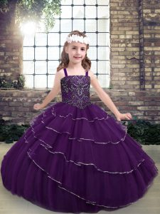 Fabulous Sleeveless Lace Up Floor Length Beading and Ruffled Layers Pageant Dress Wholesale