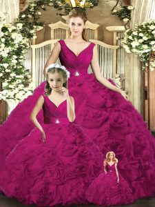 V-neck Sleeveless Backless Quinceanera Gowns Fuchsia Fabric With Rolling Flowers
