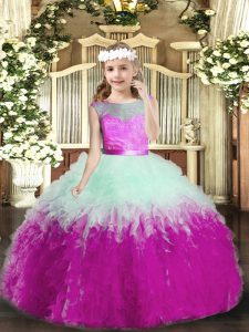 Lovely Multi-color Backless Pageant Dress for Teens Ruffles Sleeveless Floor Length
