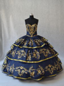 Navy Blue Sleeveless Embroidery and Ruffled Layers Floor Length Sweet 16 Quinceanera Dress