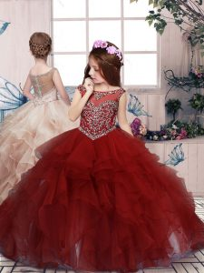 Red Organza Lace Up Scoop Sleeveless Floor Length Little Girls Pageant Dress Wholesale Beading and Ruffles