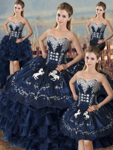 Attractive Embroidery and Ruffles Quinceanera Gown Navy Blue Lace Up Sleeveless Floor Length