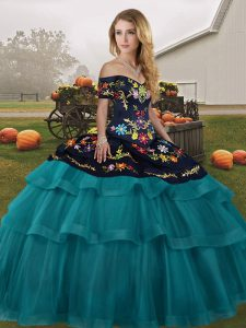 Vintage Off The Shoulder Sleeveless Brush Train Lace Up Quinceanera Gowns Teal Tulle