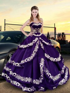 Embroidery and Ruffled Layers Quinceanera Dress Purple Lace Up Sleeveless