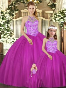 Ideal Sleeveless Floor Length Beading Lace Up Quince Ball Gowns with Fuchsia