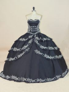 Cute Floor Length Lace Up Ball Gown Prom Dress Black for Sweet 16 and Quinceanera with Embroidery