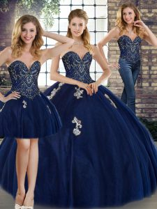 97dc581a595 Decent Navy Blue Sweetheart Neckline Beading and Appliques 15th Birthday  Dress Sleeveless Lace Up