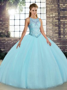 Fantastic Floor Length Ball Gowns Sleeveless Aqua Blue 15th Birthday Dress Lace Up