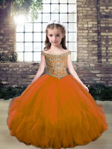 Stunning Tulle Sleeveless Floor Length Kids Formal Wear and Beading