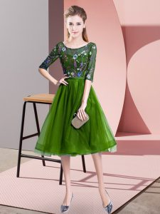 Fancy Knee Length Green Court Dresses for Sweet 16 Scoop Half Sleeves Lace Up