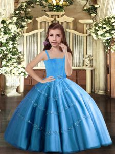 Straps Sleeveless Tulle Winning Pageant Gowns Beading Lace Up