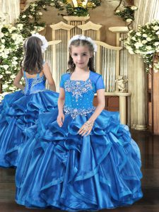 Inexpensive Floor Length Baby Blue Pageant Gowns For Girls Straps Sleeveless Lace Up