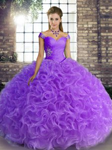 Best Selling Lavender Fabric With Rolling Flowers Lace Up Off The Shoulder Sleeveless Floor Length Quinceanera Gown Beading