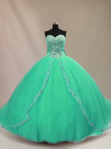 Fashion Sleeveless Court Train Beading Lace Up 15th Birthday Dress