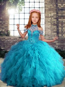 Aqua Blue Ball Gowns Tulle Halter Top Sleeveless Beading and Ruffles Floor Length Lace Up Girls Pageant Dresses