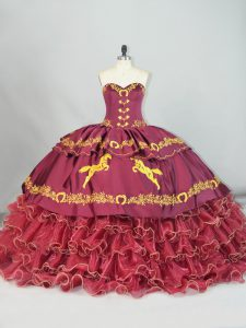 Custom Designed Burgundy Satin and Organza Lace Up 15th Birthday Dress Sleeveless Brush Train Embroidery and Ruffled Layers