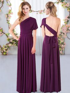 Floor Length Dark Purple Quinceanera Court of Honor Dress Chiffon Sleeveless Ruching