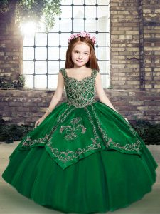 Dark Green Sleeveless Beading and Embroidery Floor Length Little Girl Pageant Dress