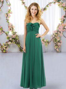 Dark Green Sleeveless Floor Length Ruffles Lace Up Quinceanera Dama Dress