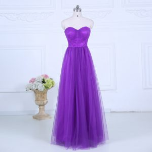 Chic Eggplant Purple Tulle Zipper Sweetheart Sleeveless Floor Length Dama Dress for Quinceanera Ruching