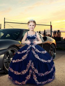 New Arrival Sleeveless Embroidery Lace Up Little Girls Pageant Gowns