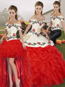 White And Red Organza Lace Up Quinceanera Dresses Sleeveless Floor Length Embroidery and Ruffles