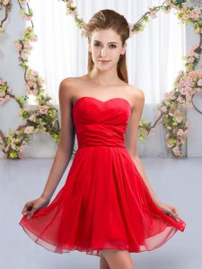 Edgy Red Sweetheart Lace Up Ruching Quinceanera Court of Honor Dress Sleeveless