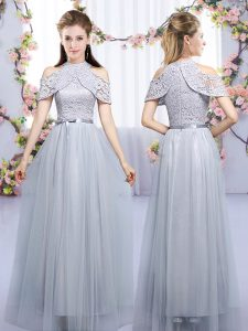 Customized Grey Sleeveless Floor Length Lace and Belt Zipper Vestidos de Damas
