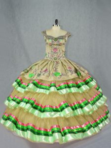 Ball Gowns Quince Ball Gowns Olive Green Straps Organza Sleeveless Floor Length Lace Up