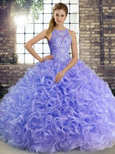 Lavender Sleeveless Floor Length Beading Lace Up Quinceanera Dress