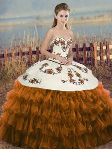 Brown Organza Lace Up Sweetheart Sleeveless Floor Length Quinceanera Dress Embroidery and Ruffled Layers and Bowknot