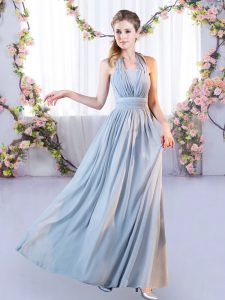Captivating Grey Sleeveless Chiffon Lace Up Dama Dress for Wedding Party