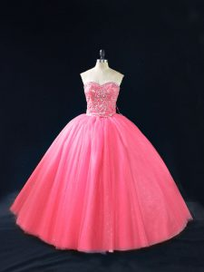 Unique Hot Pink Sleeveless Beading Floor Length Quinceanera Dresses