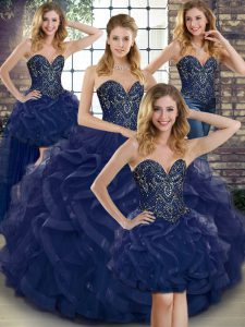 Super Navy Blue Sweetheart Neckline Beading and Ruffles Quinceanera Dresses Sleeveless Lace Up