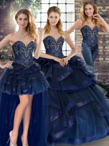 Sumptuous Navy Blue Tulle Lace Up Sweetheart Sleeveless Floor Length Sweet 16 Dress Beading and Ruffles