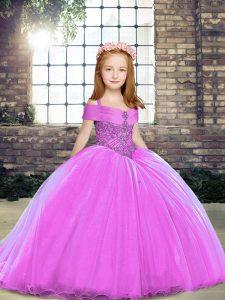 Custom Fit Floor Length Lilac Kids Formal Wear Sleeveless Beading