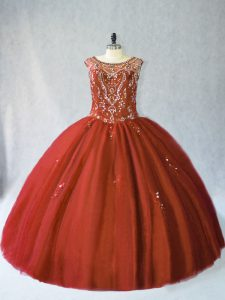 Floor Length Lace Up Quinceanera Gowns Rust Red for Sweet 16 and Quinceanera with Beading